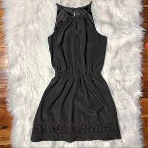 EXPRESS Silky Black Fit & Flare Halter Neck Dress